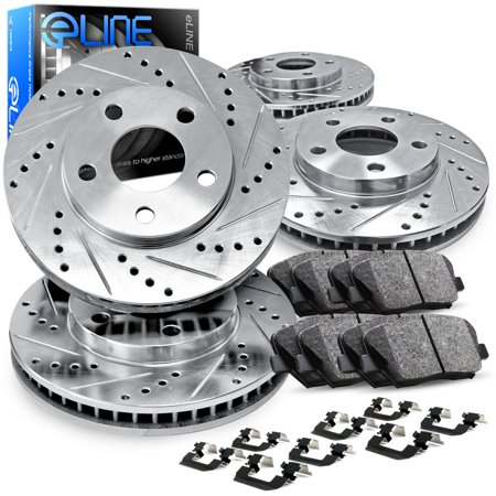 Fits 2005 2006 2007 2008 2009 2010 Ford Mustang Full Kit eLine Drill/Slot Brake Disc Rotors & Ceramic Pad