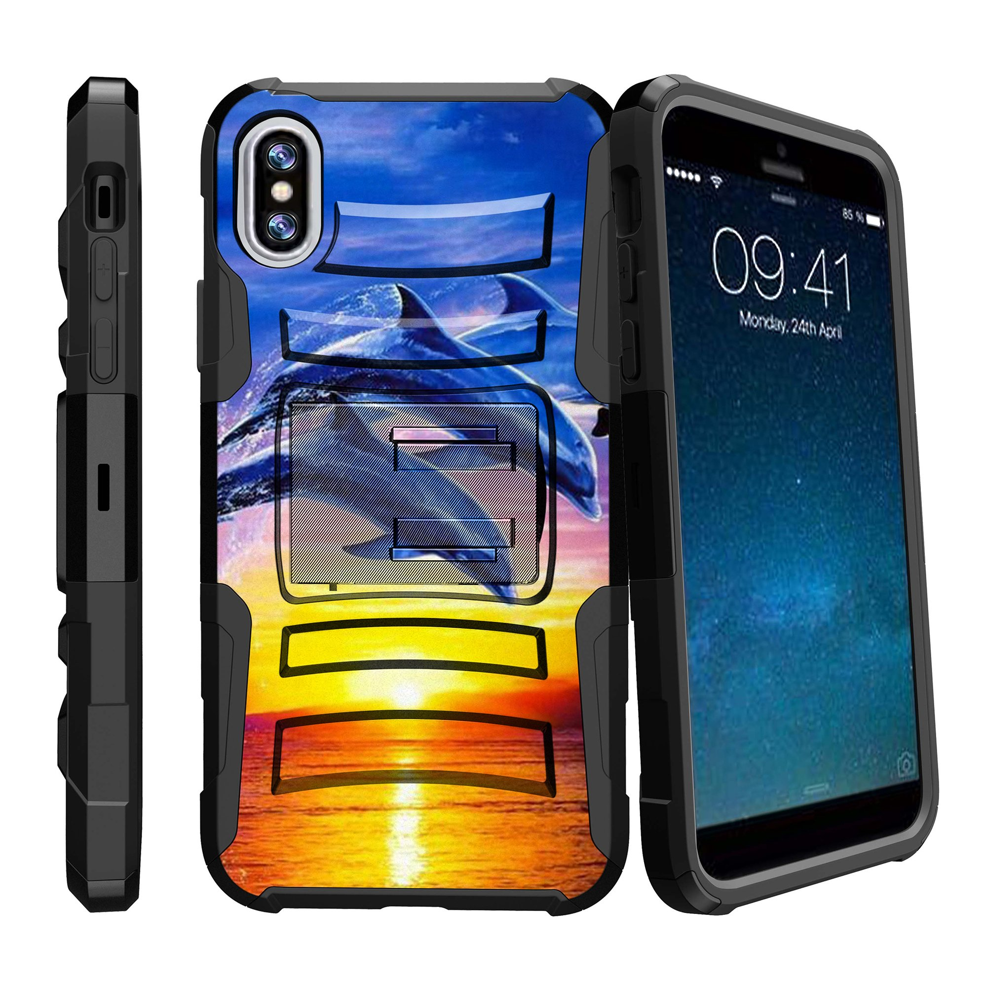 iPhone X Hard Shell Case , Rugged Apple iPhone X Cover [Clip Armor] Rugged Holster & Built-In Kickstand Feature Combo Case for iPhone X - Sunset Dolphins
