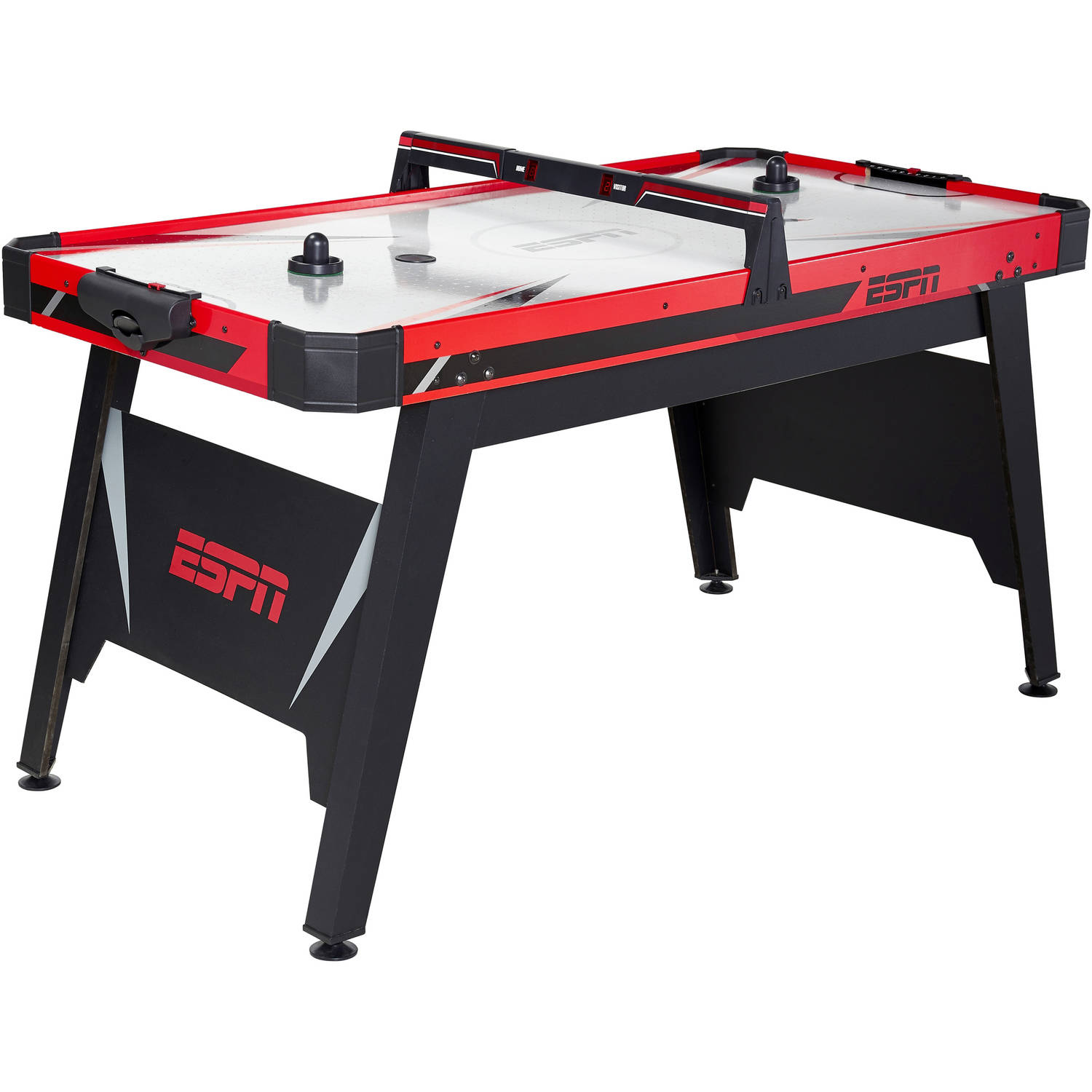 ESPN 60 Inch Air Powered Hockey Table with Overhead Electronic Scorer, Includes 2 pushers and 2 pucks, Black/Red