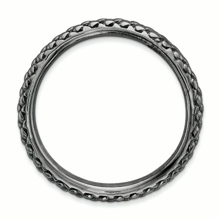 Sterling Silver Stackable Expressions Polished Black-plate Wave Ring Curved Fashion Jewelry For Women Gifts For Her - image 3 de 7