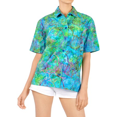 HAPPY BAY Women's Summer Hawaiian TOP Beach ALOHA short sleeve Camp Casual blouse HK264