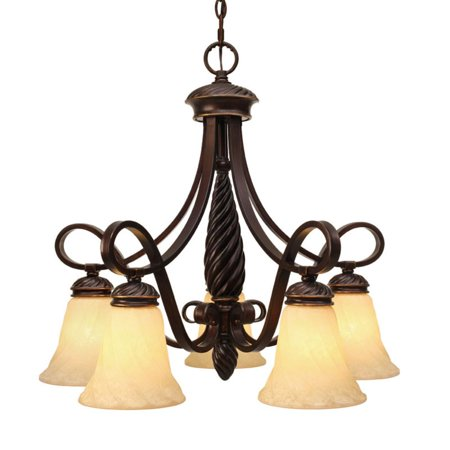 High Country Foyer Chandelier - Golden Lighting 8106-D5 Torbellino 5 Light Foyer Chandelier