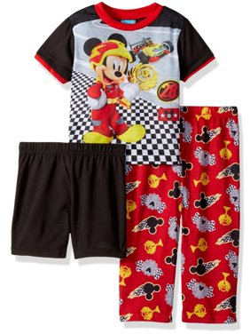 Disney Toddler Boys' Mickey Mouse 3-Piece Pajama Set, Engine Red, Engine Red, Size: 2T