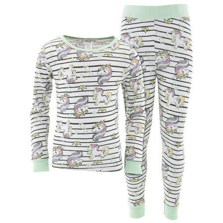 Cozy Couture Girls Rainbow Unicorns White Cotton Pajamas](Cozy Girl)