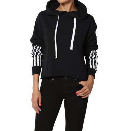 Dolman Crop - TheMogan Junior's Active Striped Long Sleeve Cropped Hoodie Pullover Sweatshirts