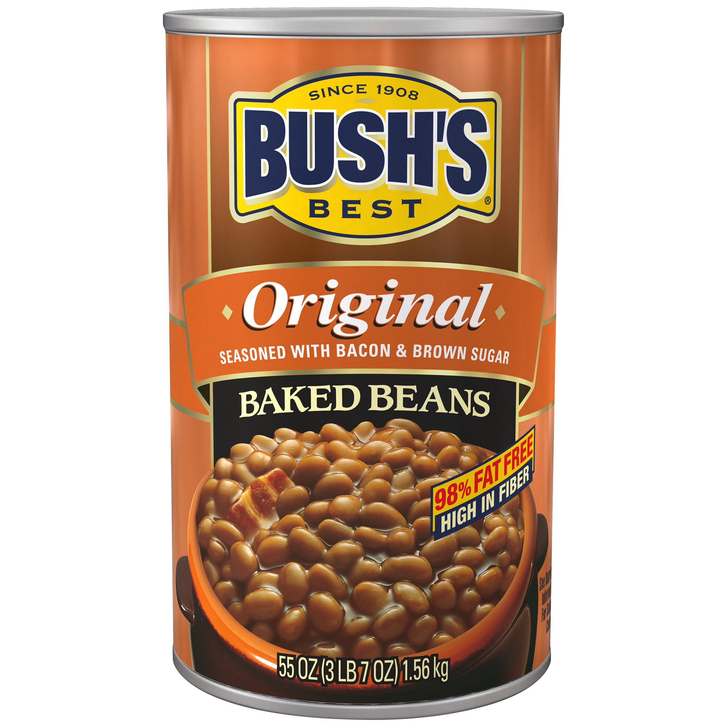 Bushs Best Original Seasoned Baked Beans With Bacon And Brown Sugar, 55 oz