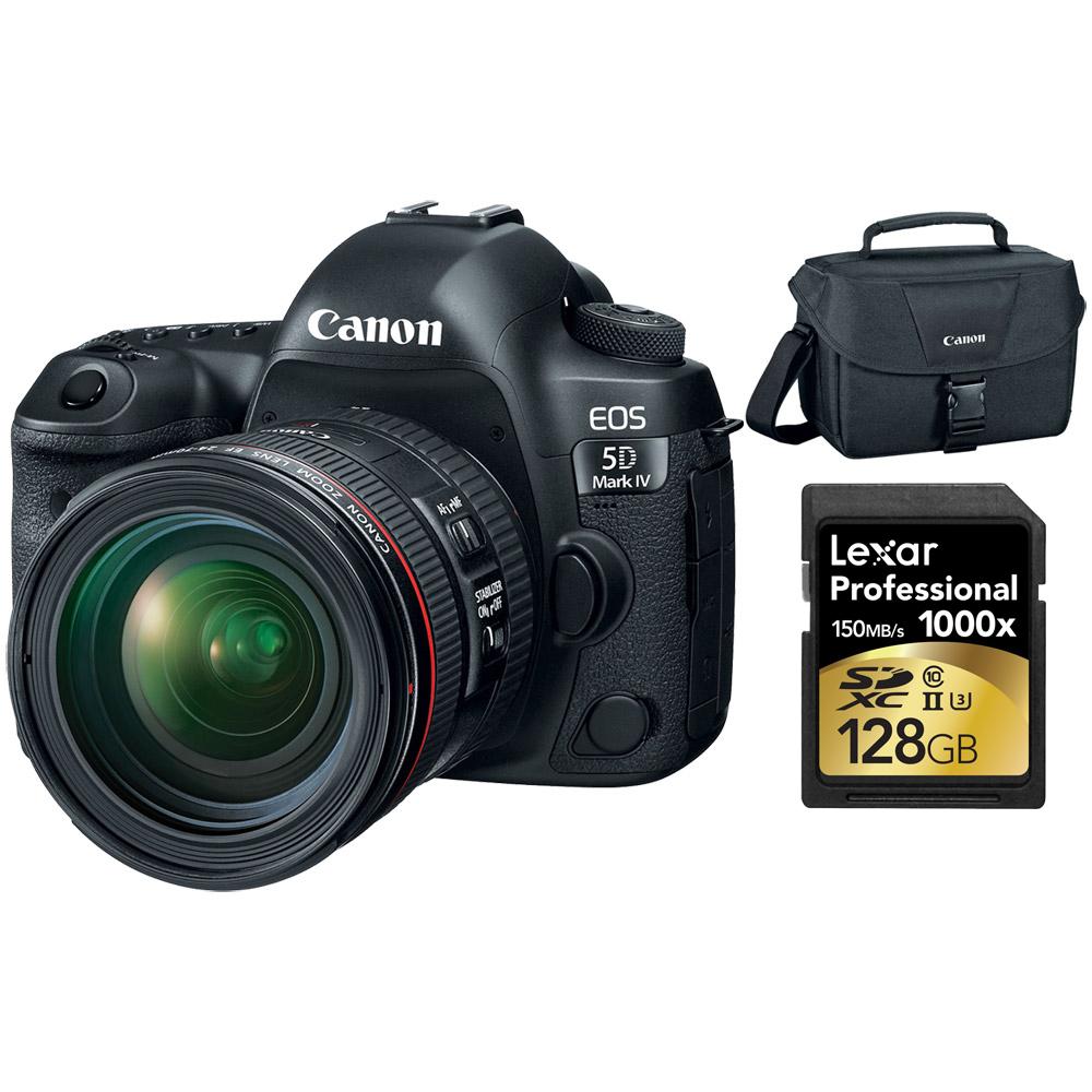 Canon EOS 5D Mark IV 30.4 MP DSLR Camera + EF 24-70mm f/4L IS USM Lens 128GB Bundle