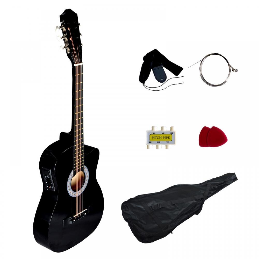 Black Electric Acoustic Guitar Cutaway Design With Guitar Case, Strap, Tuner T4 by