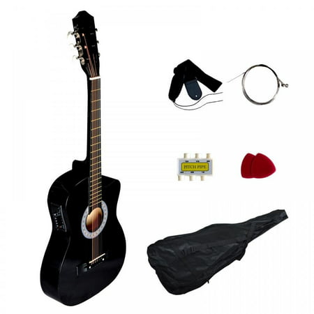Black Electric Acoustic Guitar Cutaway Design With Guitar Case, Strap, Tuner T4