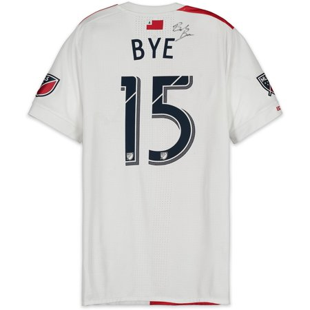 02afea53b Brandon Bye New England Revolution Autographed Match-Used White  15 Jersey  vs. Atlanta United FC on October 6
