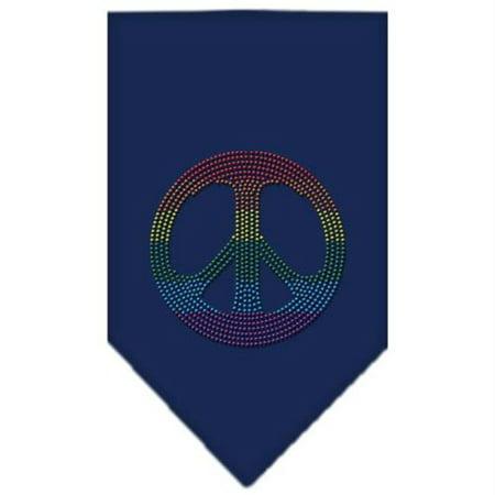 Rainbow Peace Sign Rhinestone Bandana Navy Blue large (Large Blue Rhinestone)