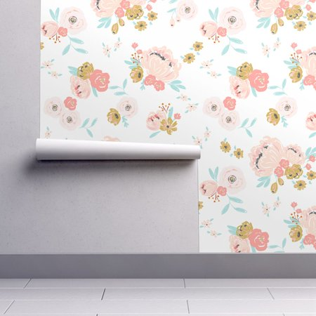 Peel-and-Stick Removable Wallpaper Blush Pink Bouquets Girls Nursery