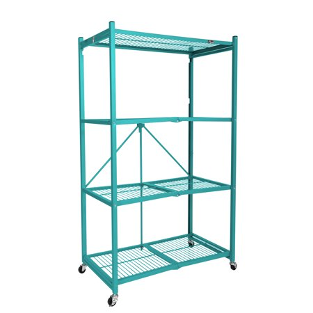 Origami Wheeled 4-Shelf Folding Metal Steel Wire Shelving Teal (21