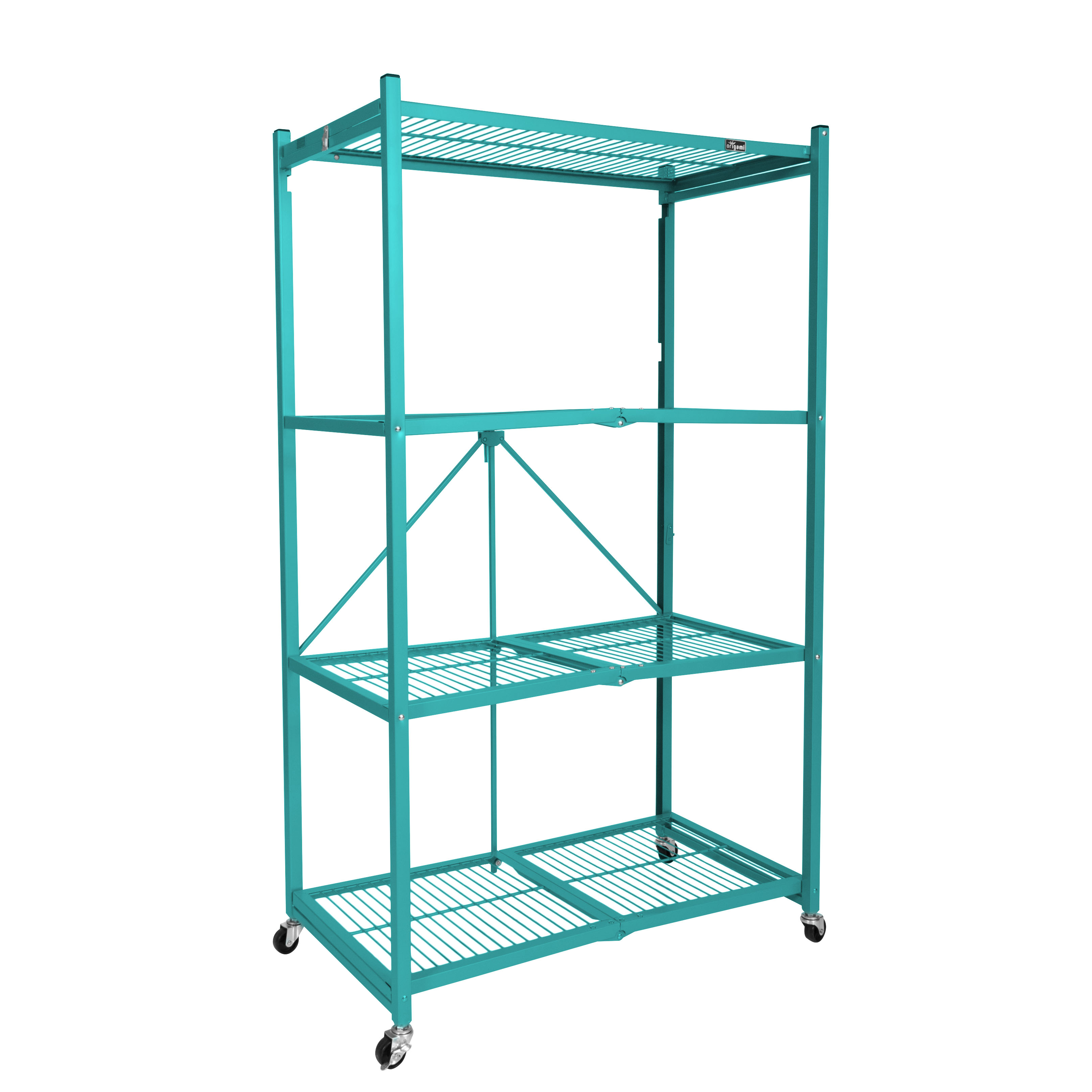 "Origami Wheeled 4-Shelf Folding Metal Steel Wire Shelving Teal (21"" x 36"" x 60"")"