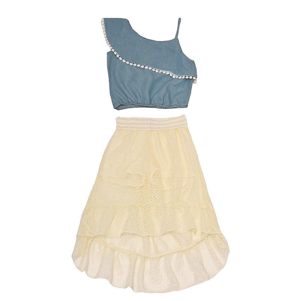 Dollhouse Little Girls Black One-Shoulder Strap Hi-Low 2 Pc Skirt Set 4-6X