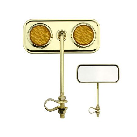 Lowrider Rectangular Bicycle Bike Mirror Gold with Amber Reflector Bike Part, Bicycle Part, Bike Accessory, Bicycle -