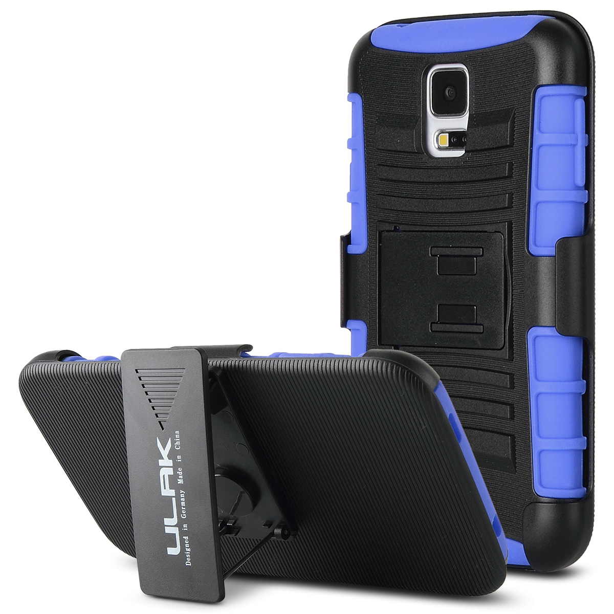 ULAK Galaxy S5 Case, Belt Clip Case Shockproof Drop Proof Heavy Duty Soft Silicone Dual Layer Holster  Case with Kickstand for Samsung Galaxy S5 i9600 SV (Blue)