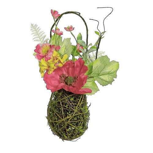Northlight Seasonal Red Poppy and Orange Wildflower Artificial Floral Hanging Basket Wall D cor