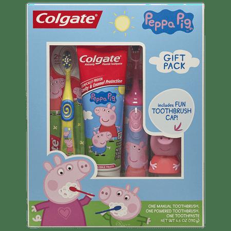 Colgate Kids Toothbrush, Toothpaste, Toothbrush Cap Gift Set - Peppa Pig