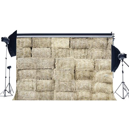 ABPHOTO Polyester 7x5ft Old Barn Backdrop Straw Haystack Backdrops Autumn Harvest Interior West Cowboy Turkey Farm Photography Background for Kentucky Derby Party Thanks Giving Photo Studio Props - Kentucky Derby Photo Backdrop