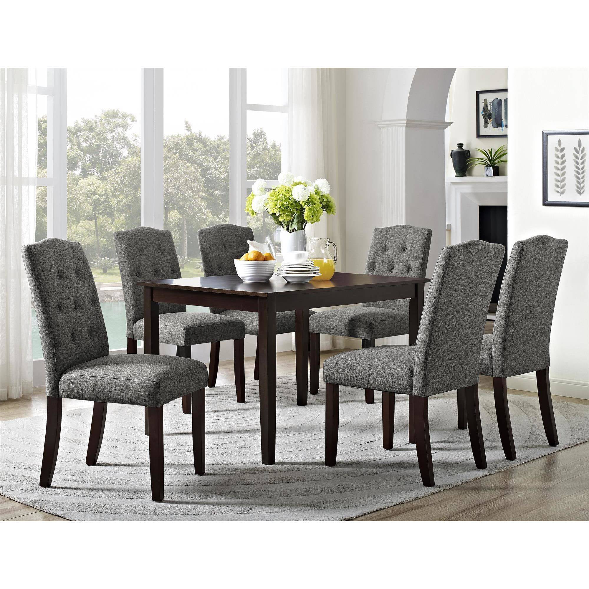 Better Homes And Gardens 7 Piece Dining Set With Upholstered Chairs, Grey    Walmart.com