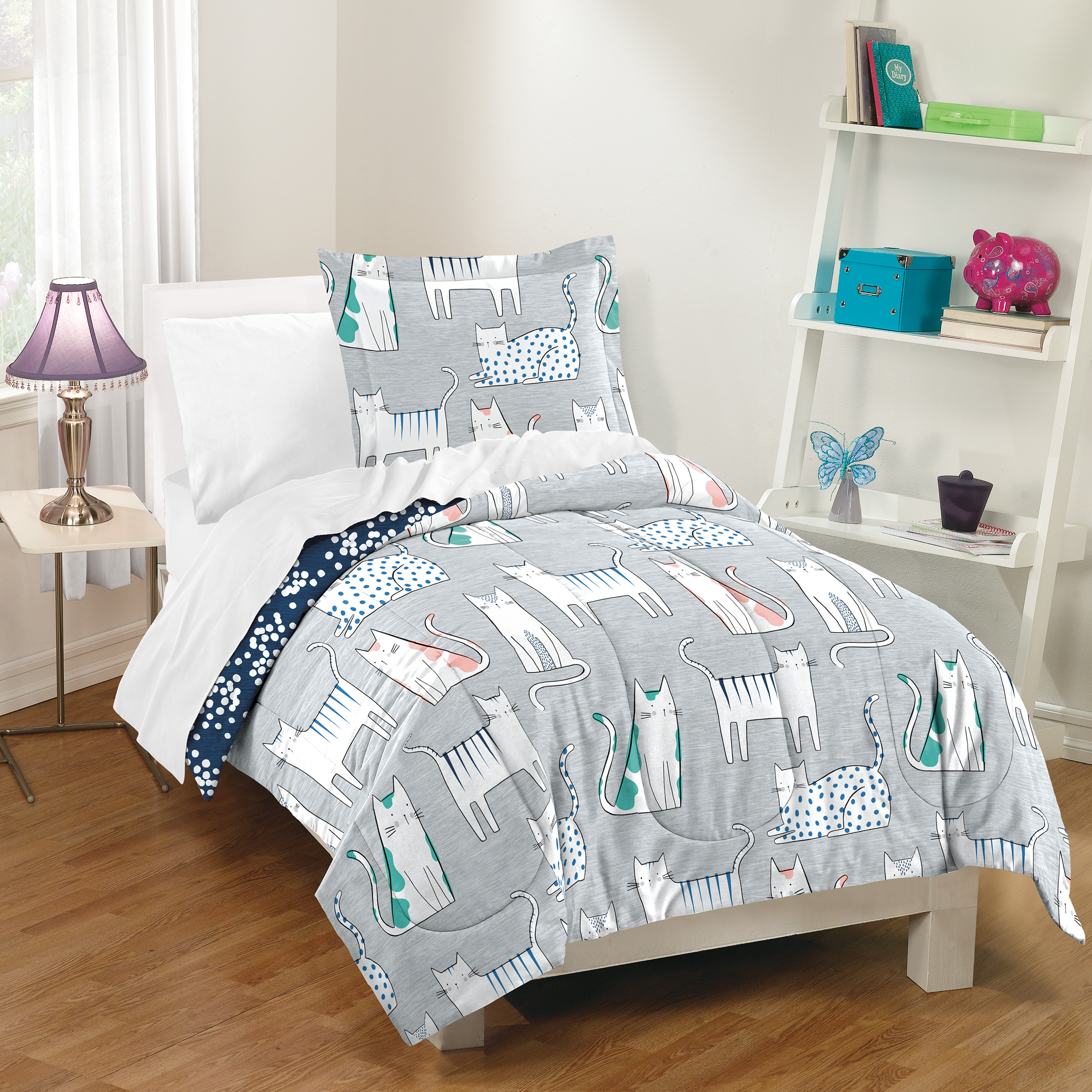 Dream Factory Purrfect Cat Comforter and Sham Set