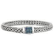 "Phillip Gavriel Silver & Natural Blue Sapphire Spiga Wheat Woven Bracelet - 7.5"""