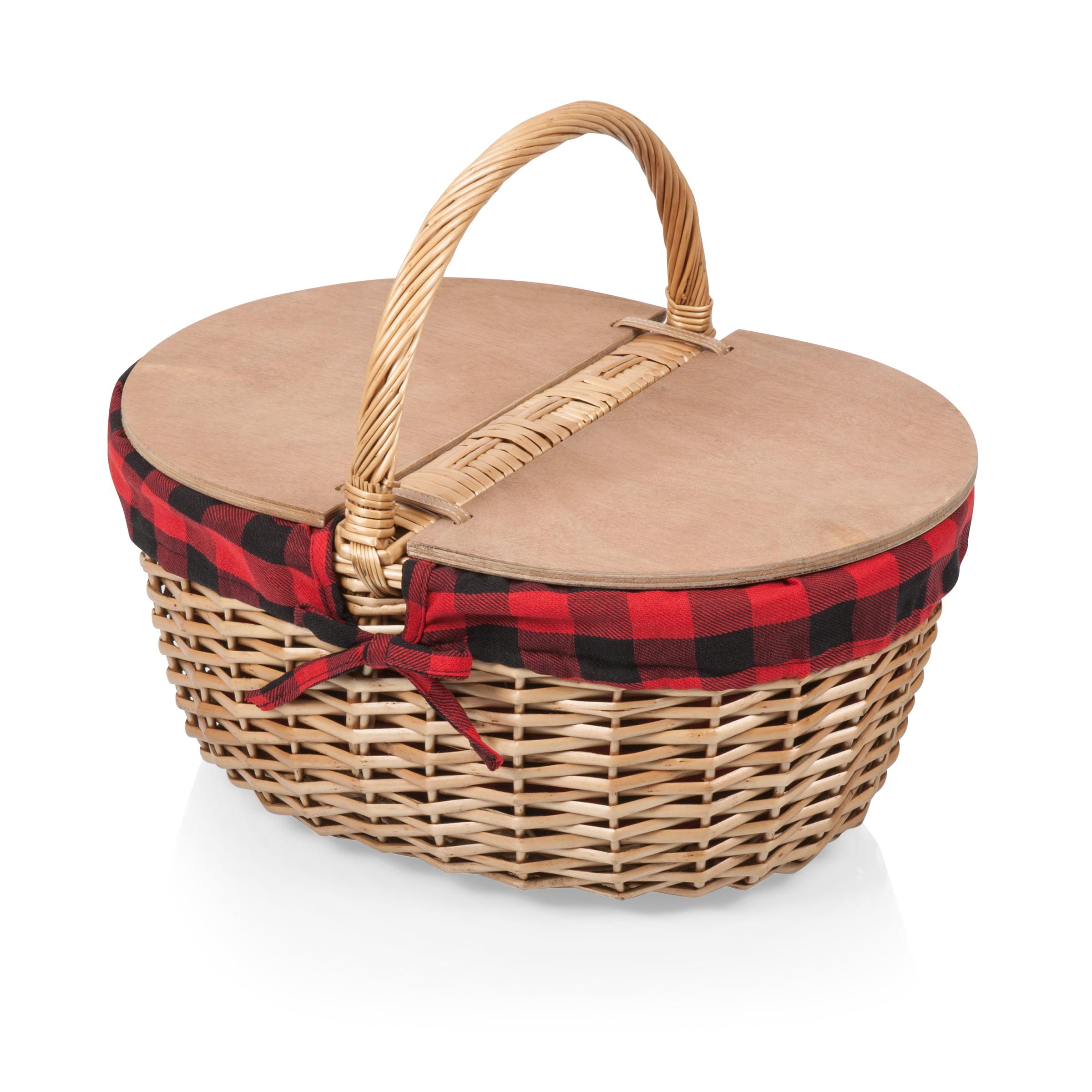 Country Picnic Basket Red Black Buffalo Plaid Walmart Com Walmart Com