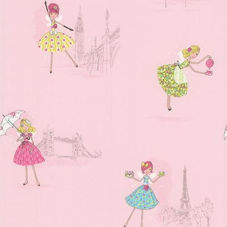 "Brewster Home Fashions Kids World Fairy Tea Time European Party 33' x 20.5"" Figural Wallpaper"