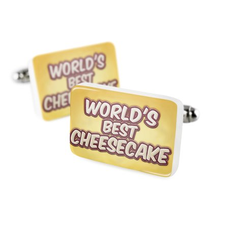 Cufflinks Worlds Best Cheesecake  Happy Yellowporcelain Ceramic Neonblond