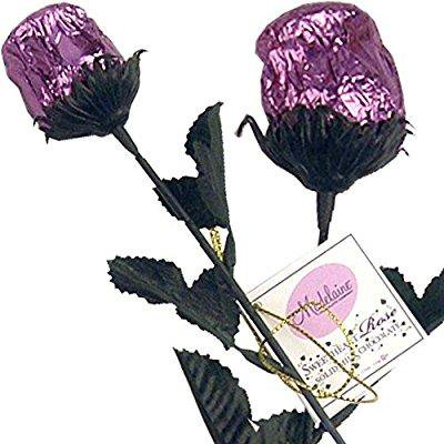 bright lavender foil sweetheart solid milk chocolate rose (1/2 oz, 9.5 long) - 3 roses bouquet