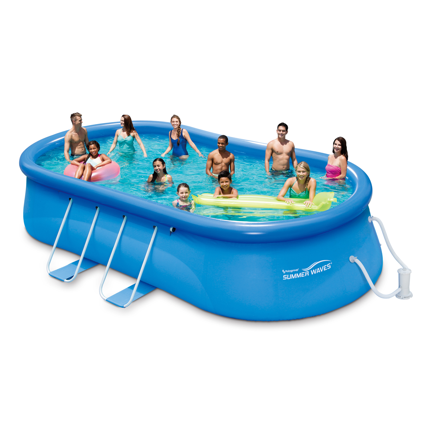 "Summer Waves 20' x 12' 48"" Quick Set Oval Frame Above Ground Swimming Pool with Filter Pump System And Deluxe Accessory Set"