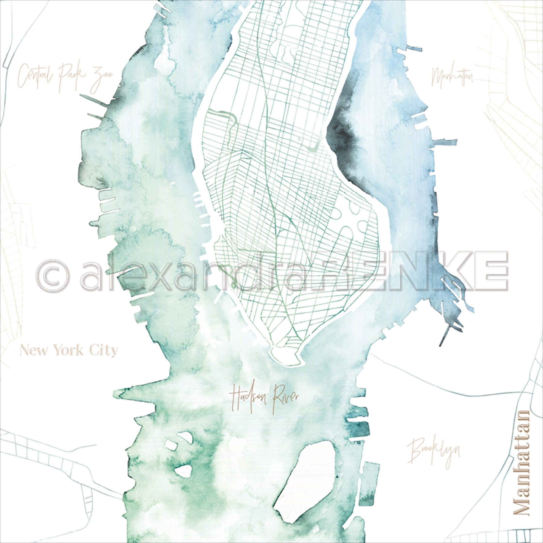 "Alexandra Renke Travel Design Paper 12""X12""-Manhattan Watercolor"