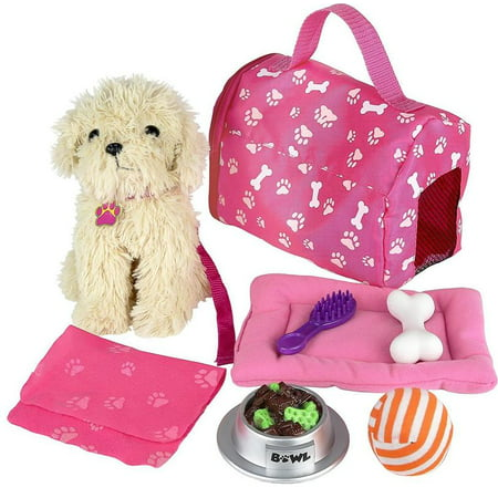 Click n' Play 9 piece Doll Puppy Set and Accessories. Perfect For 18 inch American Girl Dolls ()