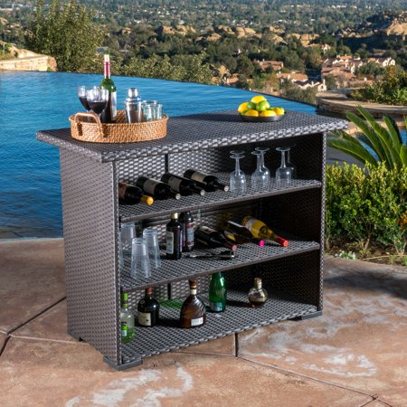 Levont Outdoor Wicker Bar, Dark Brown ()