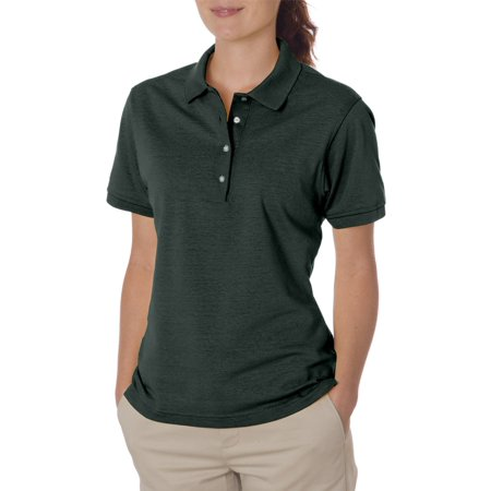 - Jerzees Women's Four Pearl Buttons Collar Sport Polo Shirt