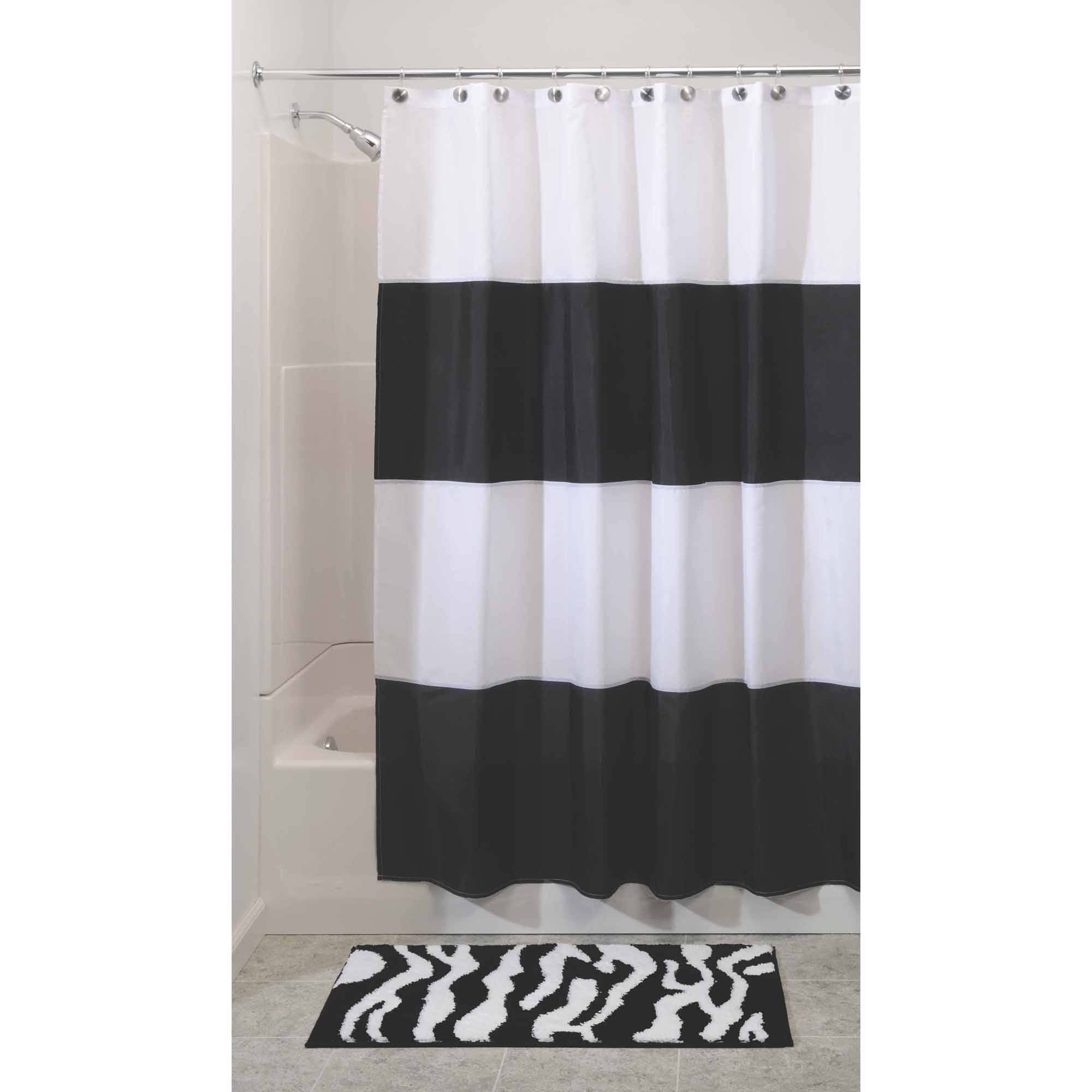 black white magnets bathroom hotel window polyester impressive x on stripe translucent poly rings hookless voile throughout raised delightful shower flex its with table snap escape and dimensions a liner curtains curtain chrome