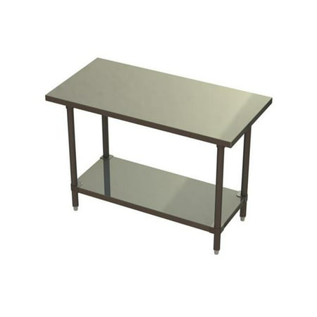 Prairie View ST243424-US Under Shelf Knock Down Stainless Steel Flat Top Tables - 34 x 24 x 24 in.