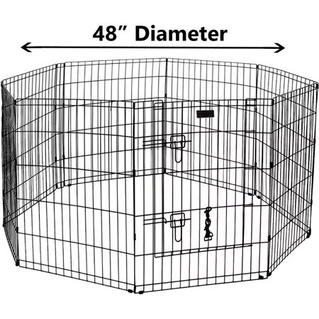 Proselect Exercise Pen - Ultimate Folding Dog Animal Pet Playpen Metal Black Wire Enclosure Fence Exercise Popup Kennel Crate Tent Portable 24