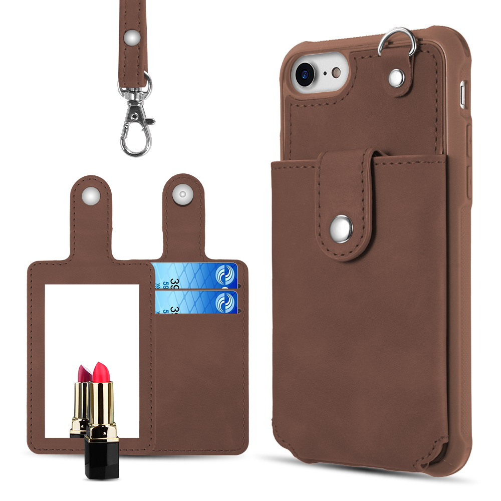 Luxmo Brown Detachable  Cover with Exquisite Mirror Hanging Wallet Case for iPhone 6/7/8