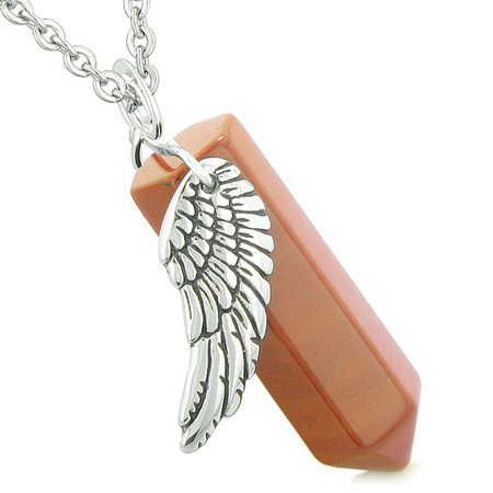 Amulet Angel Wing Magic Energy Wand Crystal Point Red Jasper Crystal Pendant 18 Inch Necklace - Inlay Red Jasper