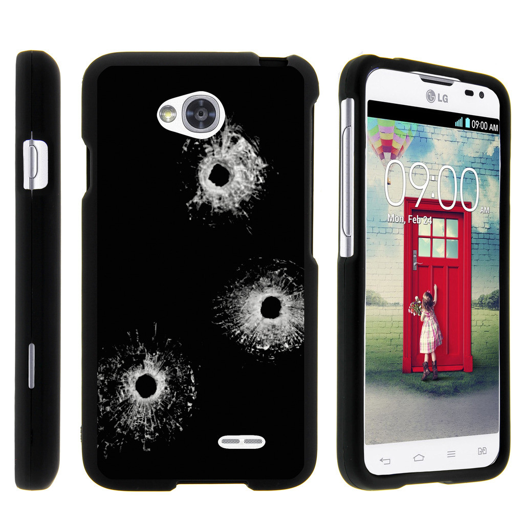 LG Optimus L70, Ultimate 2, Optimus Exceed, [SNAP SHELL][Matte Black] 2 Piece Snap On Rubberized Hard Plastic Cell Phone Case with Exclusive Art - Bullet Holes