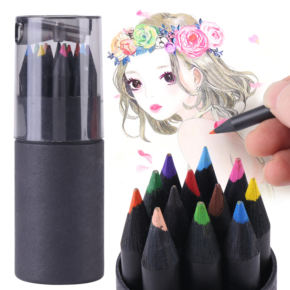 VBESTLIFE Colored Stationery,12 Color Drawing Sketching Painting Colorful Pencils in Black-wood Colored Stationery Colored Sketching Pencil
