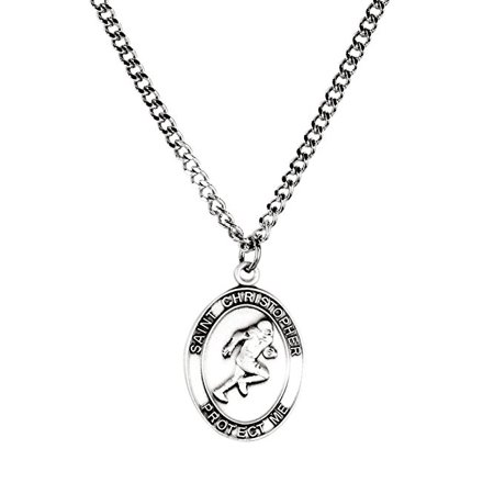Mens Pewter Saint Christopher Sports Athlete Medal, 1 Inch - Football