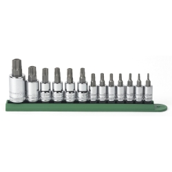 GearWrench 80725 13 Piece 1/4 in., 3/8 in. and 1/2 in. Drive Tamper Proof Torx Socket Set