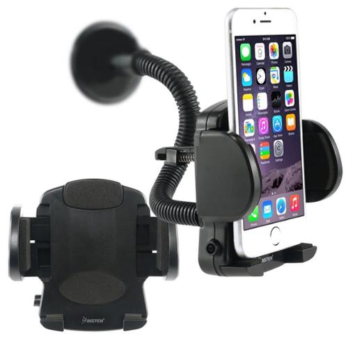 Insten Black Cellphone Car Holder Windshield Mount For iPhone 7 6 6S Plus SE 5S Samsung Galaxy S7 S6 S5 S4 S3 Edge Note 7 5 4 J7 J5 J1 Grand Prime On5 Alcatel One Touch Pixi 3 Universal Smartphone GPS