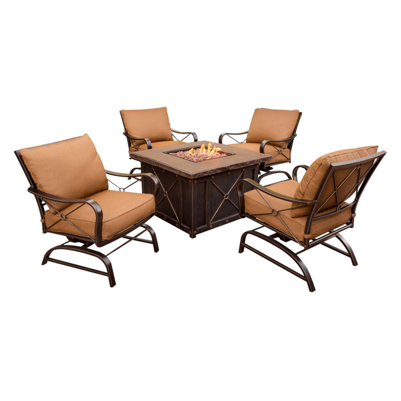 Hanover Outdoor Stone Harbor 5-Piece Fire Pit Lounge Set, Desert Sunset