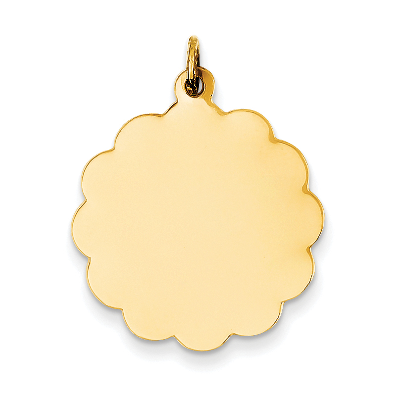 14K Yellow Gold .027 Gauge Engravable Scalloped Disc Charm - image 2 of 2