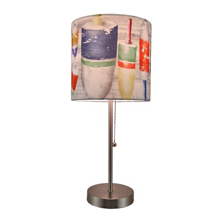 Nautical Buoys Stainless Steel Accent Lamp w/Decorative Shade