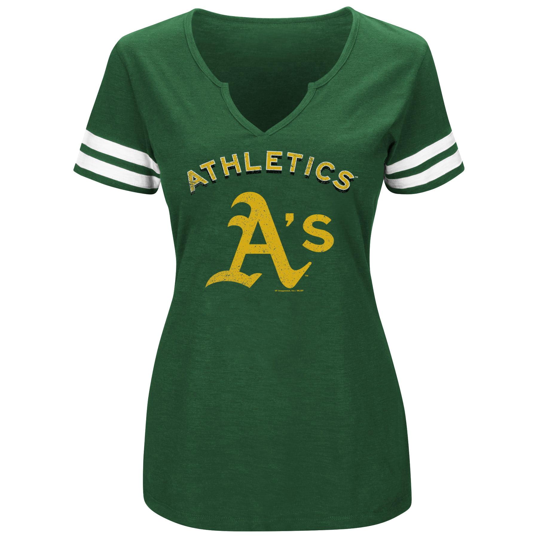 Women's Majestic Green/White Oakland Athletics Decisive Moment V-Notch T-Shirt